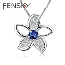 Fensky Shiny Silver Color Flower Pendant Necklace Women Blue/Purple Zircon Necklaces Beautiful Jewelry Gift for Girlfriend