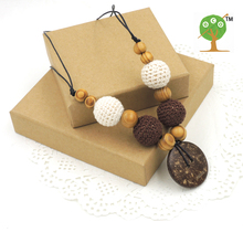Pine wooden beads with crochet beads,coconut button fade grey and brown color nursing necklace and toy  NW1441