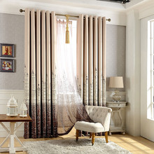 Europe Style Castle Pattern Bedroom Living Room Window Curtain Finished Products Cloth Curtain + Voile Curtain