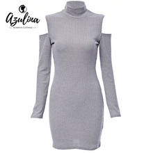 Buy AZULINA Sexy Party Club Dresses Shoulder Knitted Sweater Vestidos Robe Femme Women Warm Winter 2016 Long Sleeve Mini Dress for $8.97 in AliExpress store