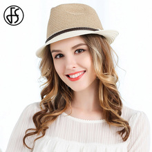 FS Ladies Summer Curl Brim Beach Straw Hats Vintage Panama Fedora For Womens Sun Hat With Ribbon Fashion Jazz Hat Adjustbale(China)