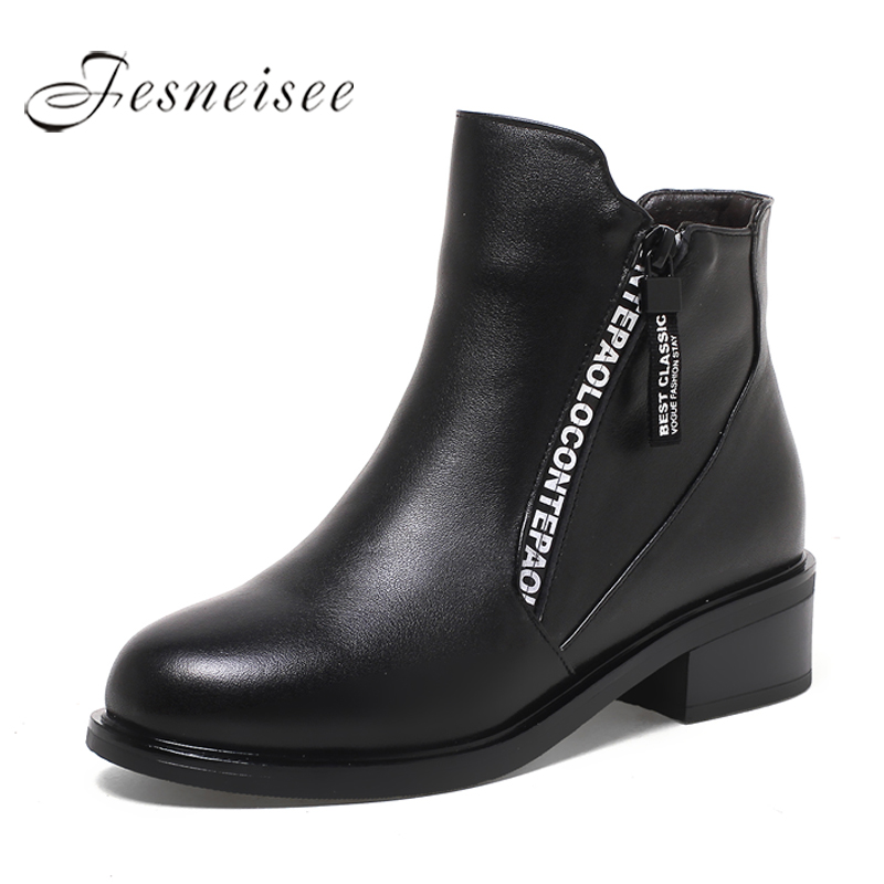 2017 Winter Women Boots Women Genuine Leather Boots Rubber Shoes Height Increasing Ankle Boots Black Boots P Size 35-43 M3.5<br>