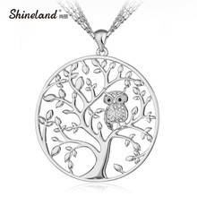Shineland Owl & Tree Pendant Necklace Jewelry Accessory Women Fashion 2017 Silver Gold Color 3 Layers Chain Crystal Long Pendant(China)
