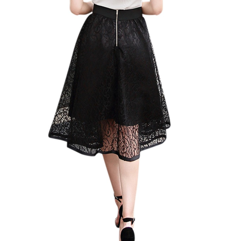 Women Summer Ball Gown Skirt Solid Color Lace Skirt Empire Waist Mesh Mini Skirts Ladies