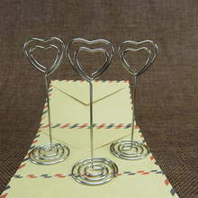 5Pcs/lot Heart-shaped notes folder Metal Business card holder Place Card Holder Table Clip For Party Wedding Supplies 7z-cx849-2