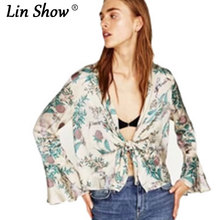 Buy LINSHOW Sexy Bandage Flare Sleeve Chiffon Blouse Fashion Printed Blouse Long Sleeve Brief Cute Beach Party Club Summer Blouse for $14.89 in AliExpress store