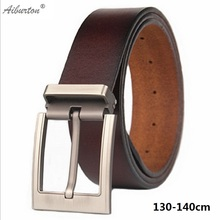 140cm long men's genuine leather big size belt classic casual designer pin button plus size belts male fat people strap