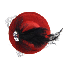 MAKE Hot Women Rhinestone Feather Red Mini Top Hat Fascinator Hair Clip