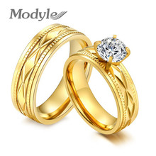 Modyle Fashion Stainless Steel CZ Engagement Rings for Women Gold-Color Cubic Zirconia Women/Men Bridal Wedding Rings(China)
