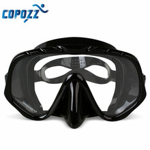 Copozz Anti-Fog Diving Goggles Scuba Mask Glasses Silicone Large HD View Tempered Mirrored Lens Wearproof Tempered Glass