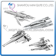 Mini Qute Piece Fun 3D Mass effect SX3 Alliance Normandy SR2 Turian Cruiser Metal Puzzle adult DIY game models educational toy