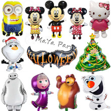 1pc Large Size Hello Kitty/Mickey Minnie/Minions/Masha Christmas Foil balloon Shape Mylar Helium Balloons Birthday Party Gift(China)