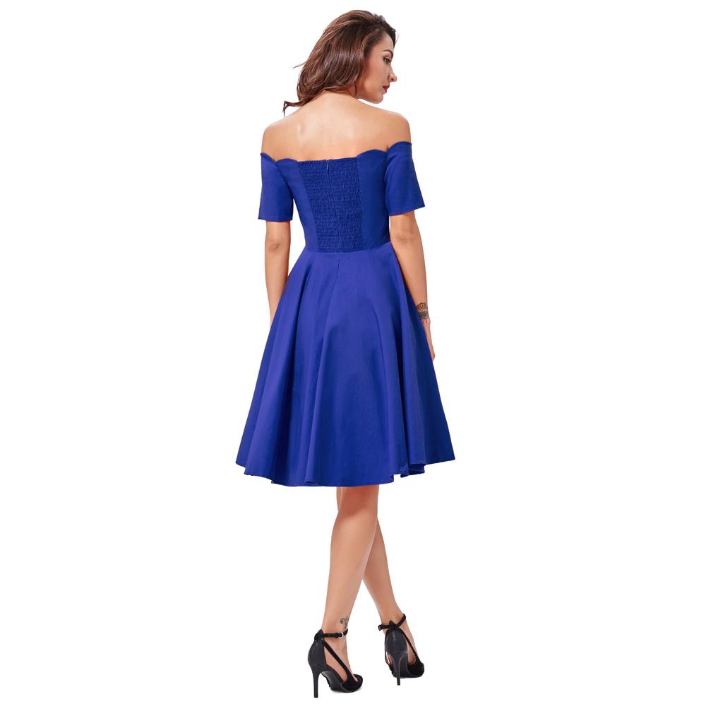 Belle Poque 17 Women Dress Robe Vintage Off Shoulder Black Summer Dress Jurken 1950s 60s Retro Rockabilly Swing Party Dresses 34