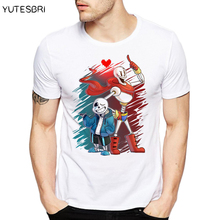 Newest Hot Cartoon Image T Shirt undertale Pattern T-shirt Hip Hop Pop Tshirt Style Men Fashion Sans and Papyrus Trendy Tees(China)