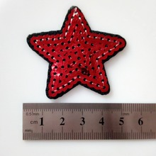 20Pcs Red Star Sequined Patch Fashion Star Cute Logo Kids Clothes Women Motif Applique Embroidered Iron On Patches For Clothing