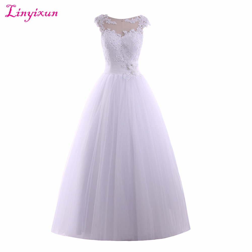Linyixun Real Photo 2017 Princess Wedding Dresses Scoop Lace Up Appliques Lace Beading Bridal Gown Tull Flowers vestido de noiva