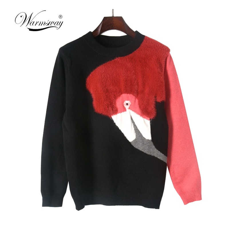 Autumn Winter Luxury Runway Fashion Knitted Sweaters Flamingo 3D Plush Pullovers Patchwork Jumper women Jersey C-098