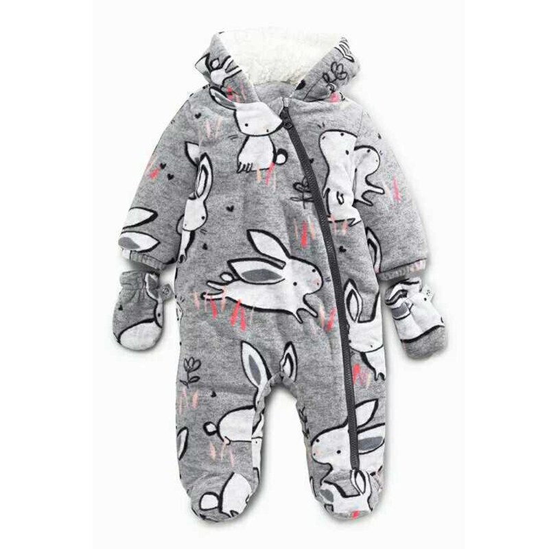 2017 New Baby Rompers Winter Thick Warm Baby Boy Clothing Long Sleeve Bebe Girl Hooded Jumpsuit Kids Newborn Outwear For 0-24M<br>