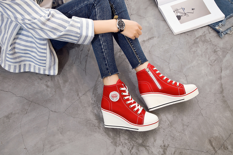 Women's Shoes Hidden Wedge Heel Shoes 18 Women Casual Shoes Canvas Sneakers High Top Breathable Platform Chaussure Femme 8