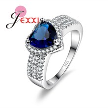 JEXXI Blue Love Heart Pendant Women/Girls Fashion 925 Sterling Silver Rings Charm Party Accessories Elegant Gift