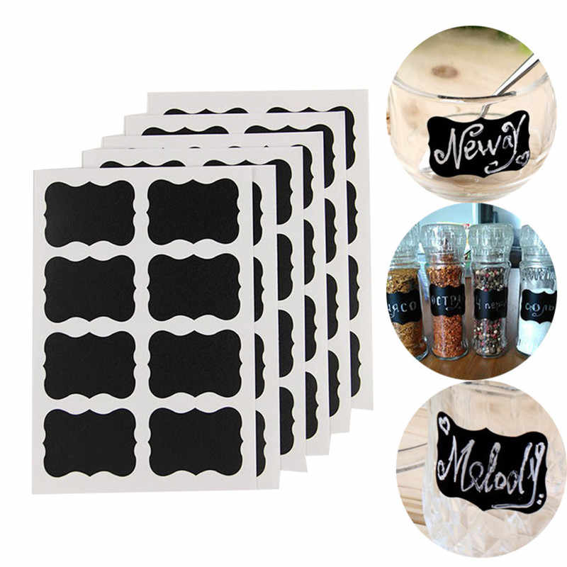 40 Pcs/set 5x3.5cm Erasable Blackboard Sticker Craft Kitchen Jars Organizer Labels Chalkboard Chalk Board Sticker Black Board