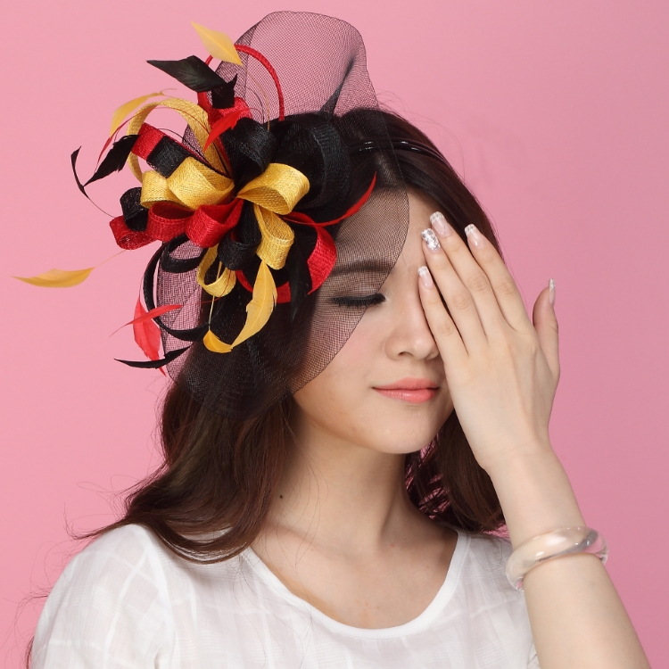 Free Shipping Women Hair Fascinator Hats Hair Accessory  Flower Clip Hairdress Flowers Hair Bows With Hairbands Fabric Flower<br>