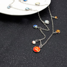 Classic Trendy Truly Stunning Delicate Long Necklace Home in the Cosmos Bib Necklace Elegant Solar System Choker in Gold Silver(China)