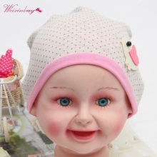 Spring Fall Baby Girl Kid Baby Soft Cotton Birds Pattern Dots Cute Beanie Hats Caps(China)