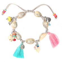 Bohemian Ethnic Hand Braided Shell Bracelet Charms Green Natural Stone Beads Cotton Tassel Braclet For Women Girls Hand Jewelry(China)
