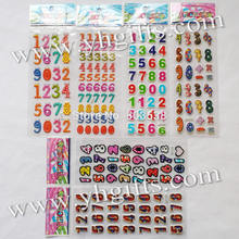 6 sheets(194PCS stickers) / LOT.PVC sponge removable 0-9 numbers stickers,Promotional gifts.Teach your own.Classic toys.
