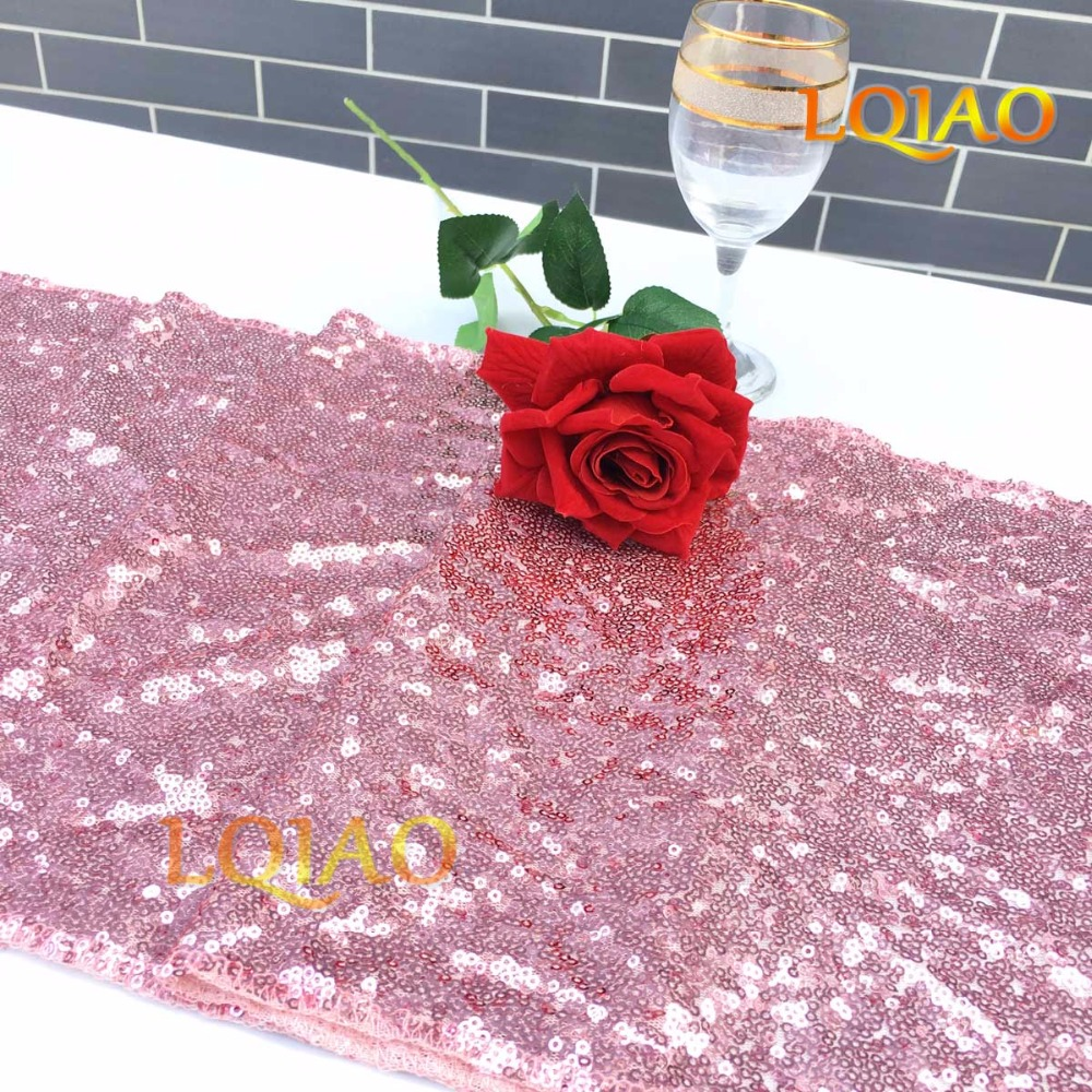 Pink Gold Sequin Tablecloth-014