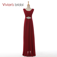 Vivian's Bridal Elegant A-Line Long Floor Length Evening Dresses Crystals Floor Length Chiffon vestido de festa Cheap Price 029