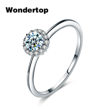 WONDERTOP Authentic Sterling Silver Single Concise Round Ring with Clear Cubic Zircon for Women Trendy Jewelry Size 6.7.8(China)