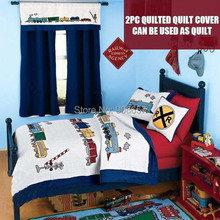 Hand made blue red train character bedding children's boys quilted quilt cover 100% cotton Twin Full queen size with pillow sham