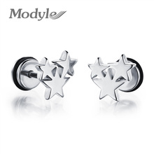 Modyle New Fashion Accessories Three Star Gold-Color Stainless Steel Stud Earring Vintage Charm Jewelry For Men Women(China)