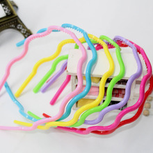 1Pcs Colorful Girl Head Bands Hoop Candy Headbands Wavy Pearl  Plastic Headwear Hairbands Hair Accessories For Women