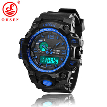 Men Sports Watches Waterproof Alarm Chronograph LED Quartz Wristwatches OHSEN Brand Plastic Strap relogio masculino AD1606