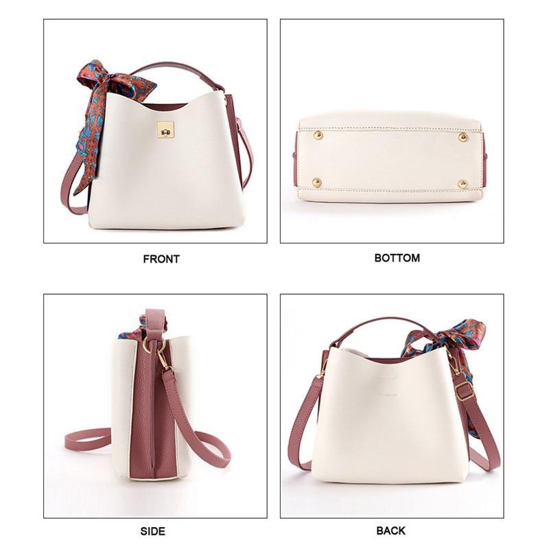 PU-Leather-Women-Handbag-Ribbon-Summer-Bucket-Fashion-Women-Bag-Bolsa-Ladies-Tote-Bag-New-Shoulder