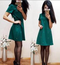 Summer Autumn New Style Women Casual Beading shift Dresses 2017 Elegant Solid Color O-neck Straight Dress Plus Size XL XXL