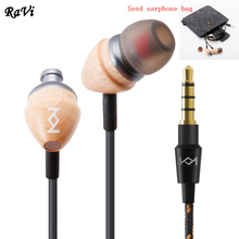 In-Ear Earphone Headset Control Natural maple Clarity Stereo Sound With Mic Earphones For iPhone Mobile Phone MP3 MP4 3.5mm(China)