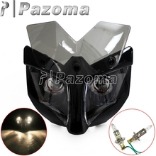 12 Volts Motorcycle Fairing Head Light with 35-54mm Bracket Moto Universal Front Lighting Headlamp for Street Fighter Naked Bike