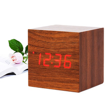 Multicolor Sound Control Wood Square LED Alarm Clock Desktop Table Digital Table Clocks Thermometer Wood USB/AAA Date For Gifts