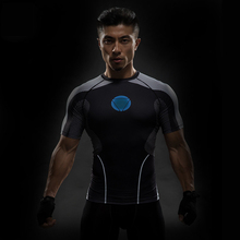 Avenger Steel Iron Man Cosplay Tops Quick-drying Mens Tees Short Sleeve 3D T-shirt Row Breathable Tight Shirt(China)