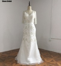 Hand-made sequins crystals beadings V neck white short sleeves wedding dress buy from China best seller list