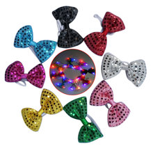 2017 New Lovely 8pc Shining Adjustable Tied LED Light Up Flashing Sequin Bow Tie for Children Party Club