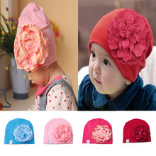 Baby Cotton Beanies Infant Hat Big Peony Flower Toddler Cap Photography Props
