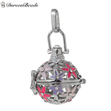 DoreenBeads Copper Wish Box Pendants Silver Tone Flower Hollow Carved Multicolor Enamel Can Open (Fit Bead Size: 16mm), 1 PC