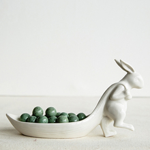 Ceramic Storage Plate for Jewelry Gift for Girls Porcelain Rabbit Leaf Shaped Dish Table Decor Figurine(China)