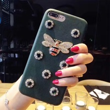 Yoneshone Luxury Brand Designer Women female Metal butterfly bee Phone Cases for iphone7 7Plus 6 s 6 Plus Leather Cover(China)