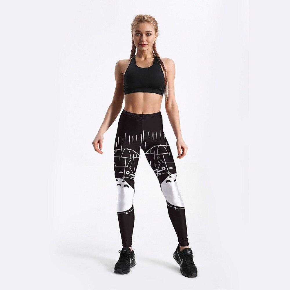 Women High-Waist Pants Totoro Printed Black Leggings